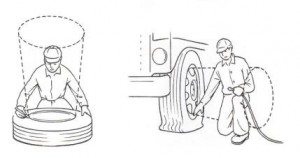 Stay out of the tire's trajectory areas or use a tire cage when working around tires.