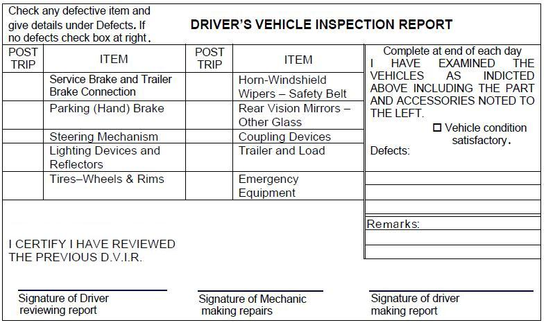 Driver's Vehicle Inspection Report