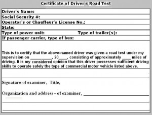 Certificate of Driver's Road Test