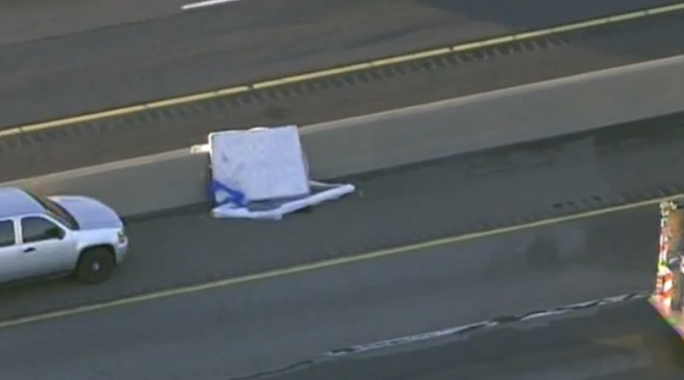mattress on road