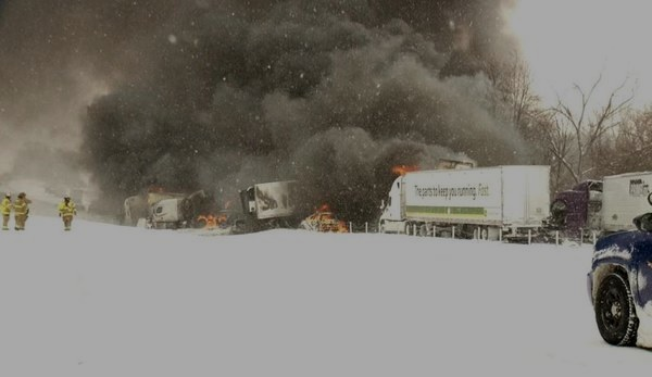 I-94 post-crash fire.