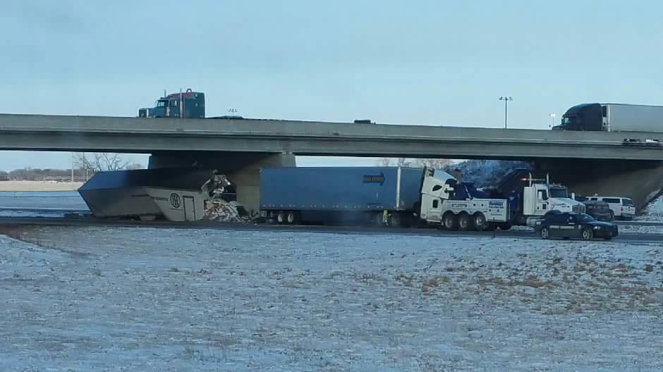 Two semitrailers collided early Saturday morning on Interstate 80 at mile marker 257 or the Elm Creek interchange that sent four to the hospital.