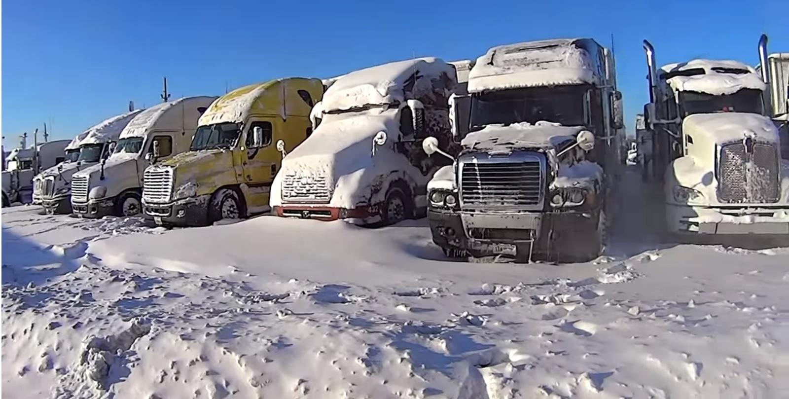 Truckstop after snowstorm.