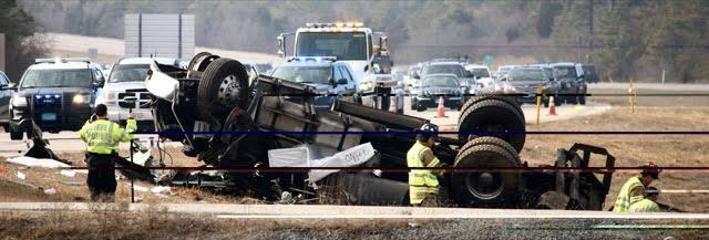 Saturday, Jan 21, 2017–Three men, who were not wearing seatbelts, were thrown from the truck onto the median in the crash on Saturday.
