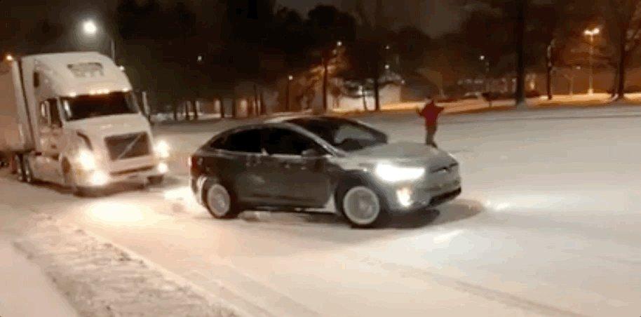 Tesla pulling truck in NC