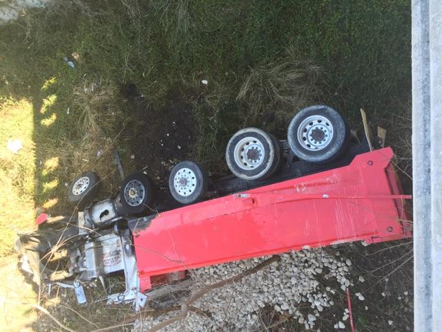 Dump truck crashes on 2222