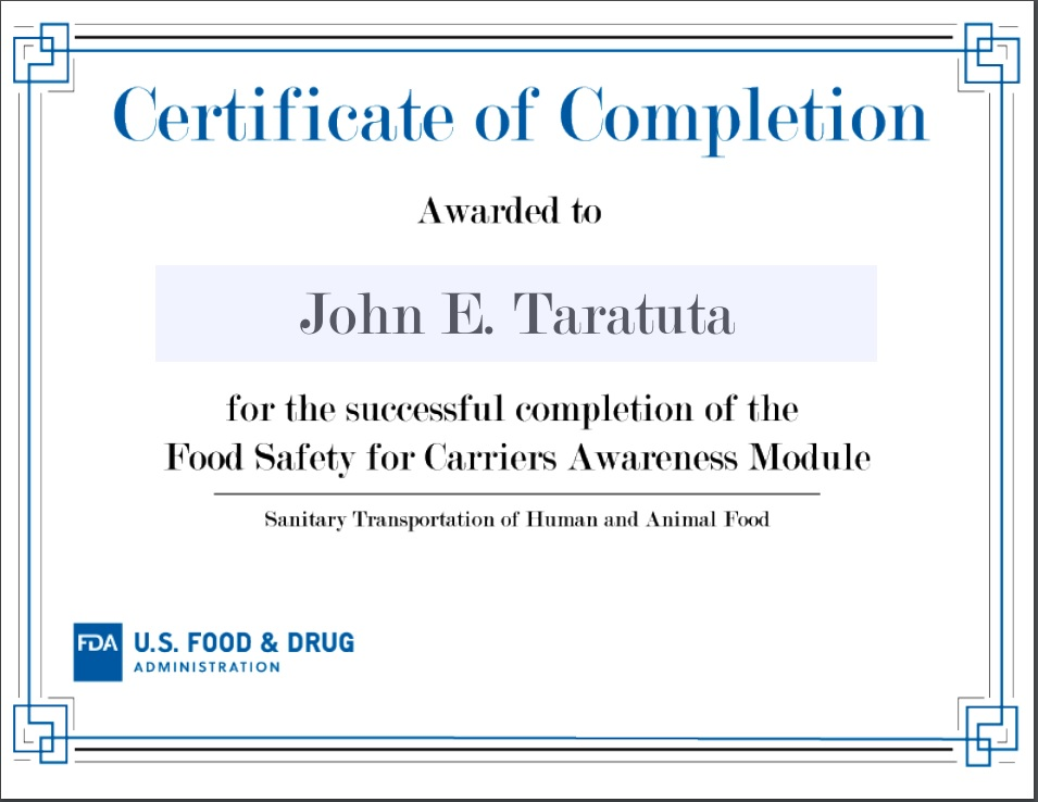 FDA Food Safety Certificate
