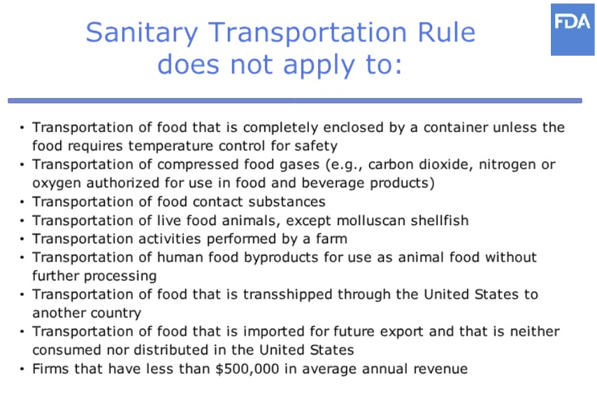 sanitary transportation rule